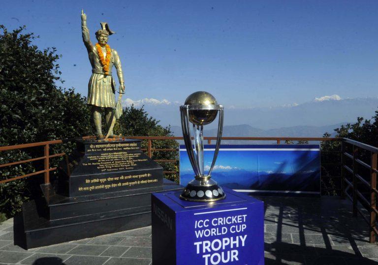 विश्वकप क्रिकेट ट्रफी चन्द्रागिरिमा प्रदर्शन