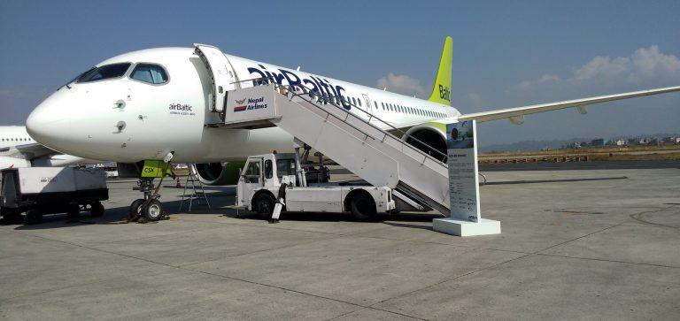 एयर बस ए २२० को नेपालमा प्रथम अवतरण