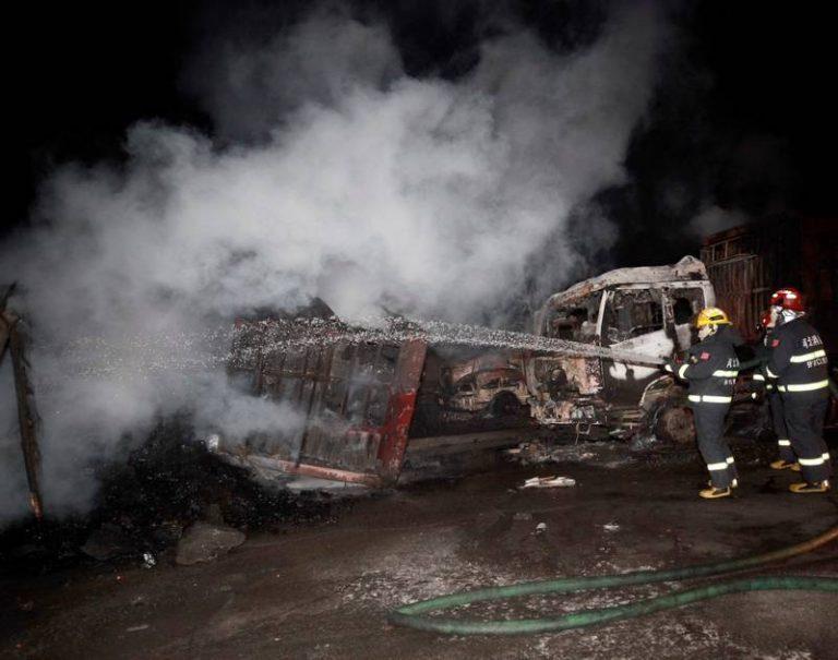 चीनको केमिकल प्लान्टमा बिस्फोटः २२ को मृत्यु, ५० ट्रक जले