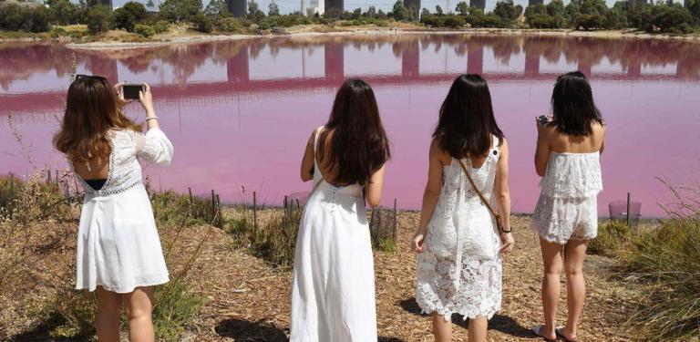 मेलबर्न पार्कमा रहेको एउटा ताल आफैँ गुलाबी