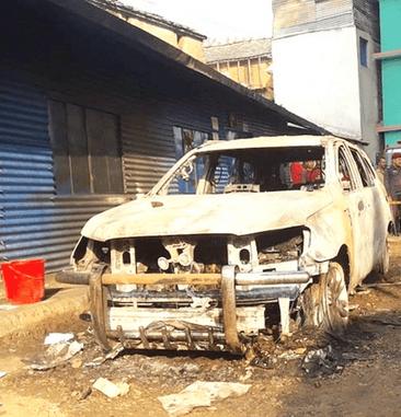नगरपालिकाको गाडीमा अज्ञात समूहले आगजनी